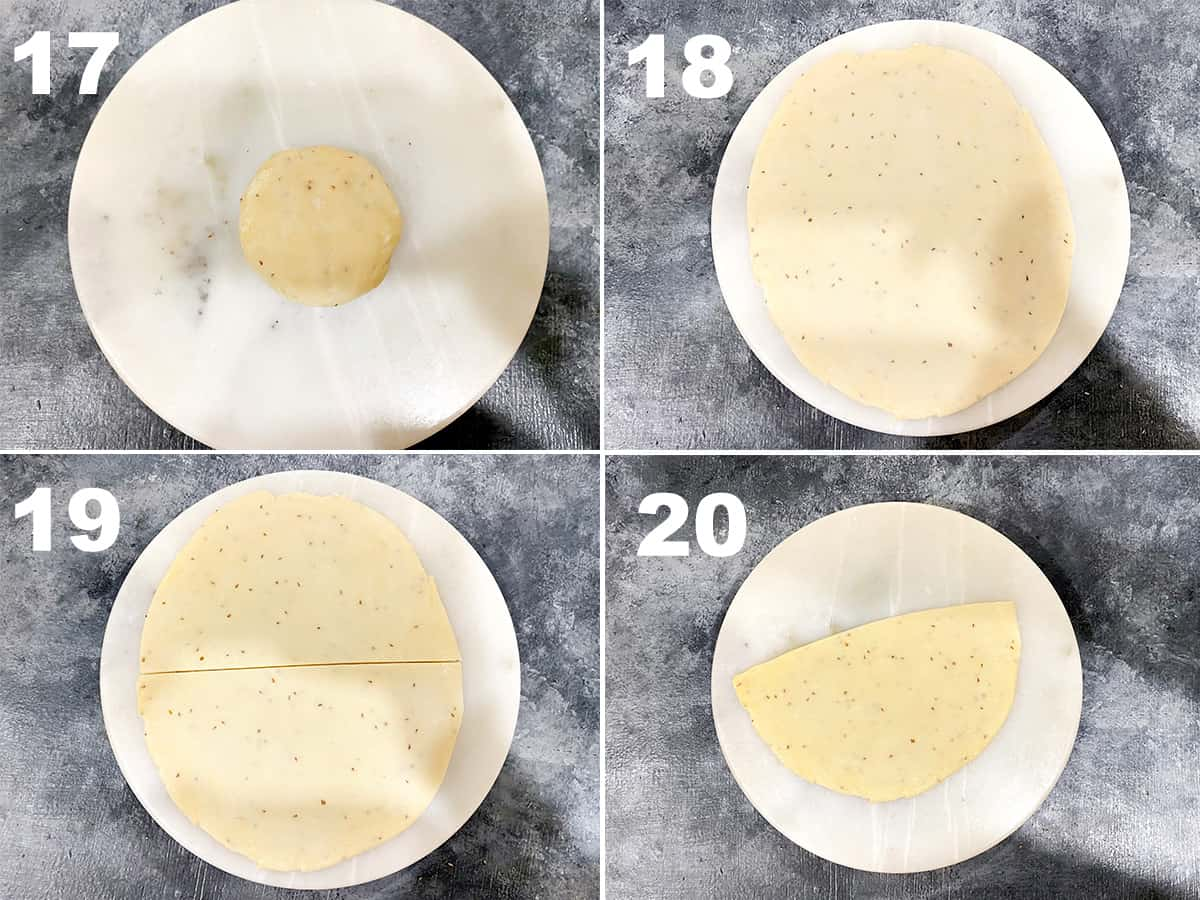 four step collage showing the rolling of samosa dough