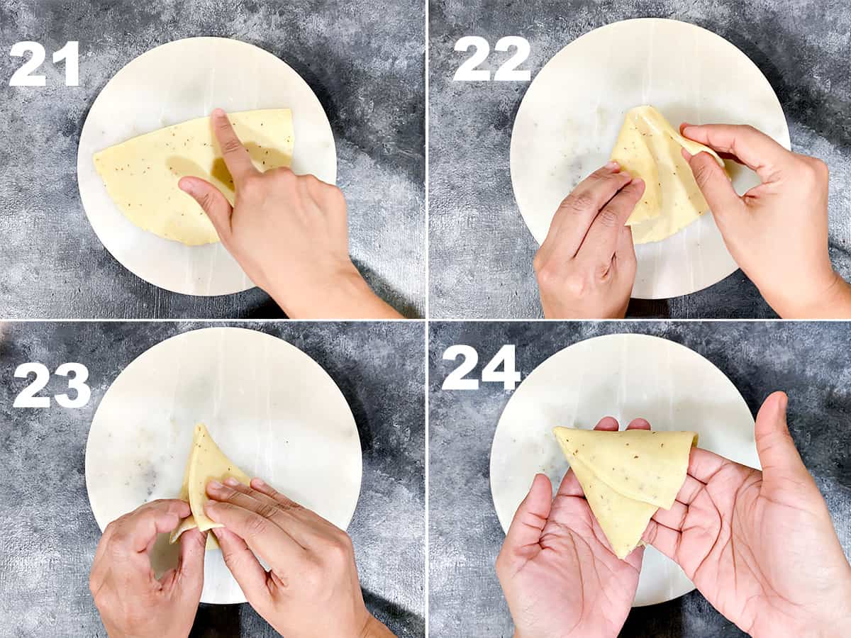 detailed four step collage showing how to fold the samosa dough to make a cone