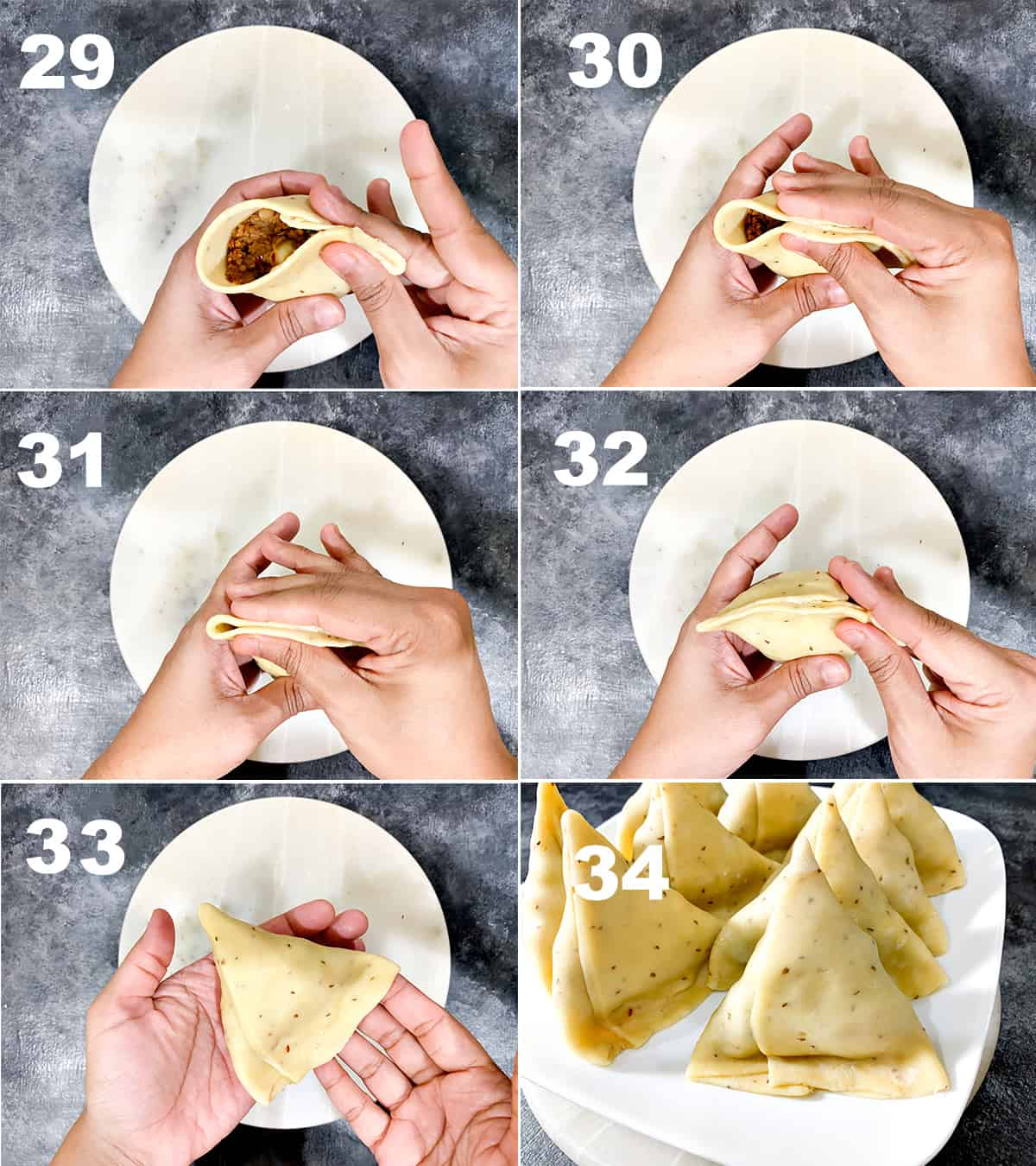 Detailed step by step picture collage showing how to fold Indian samosa perfectly.