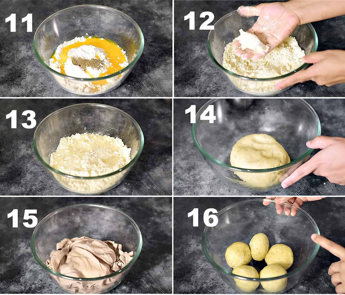 Step by step picture collage showing how to make perfect samosa dough.