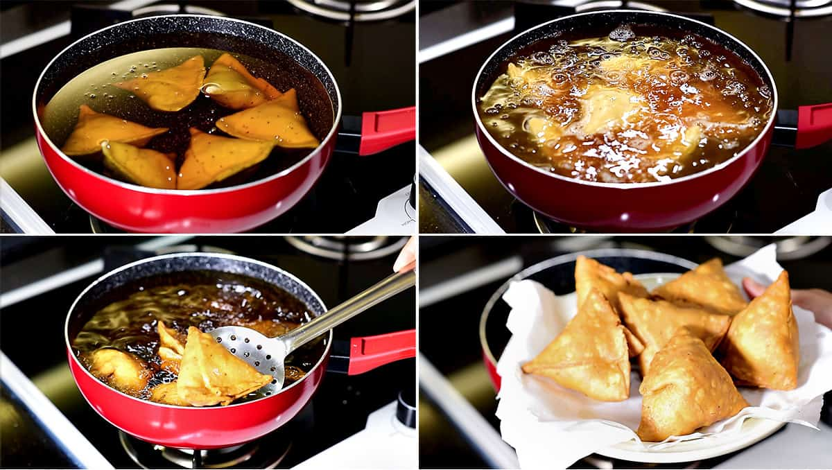 four step collage showing the Indian samosa frying in oil