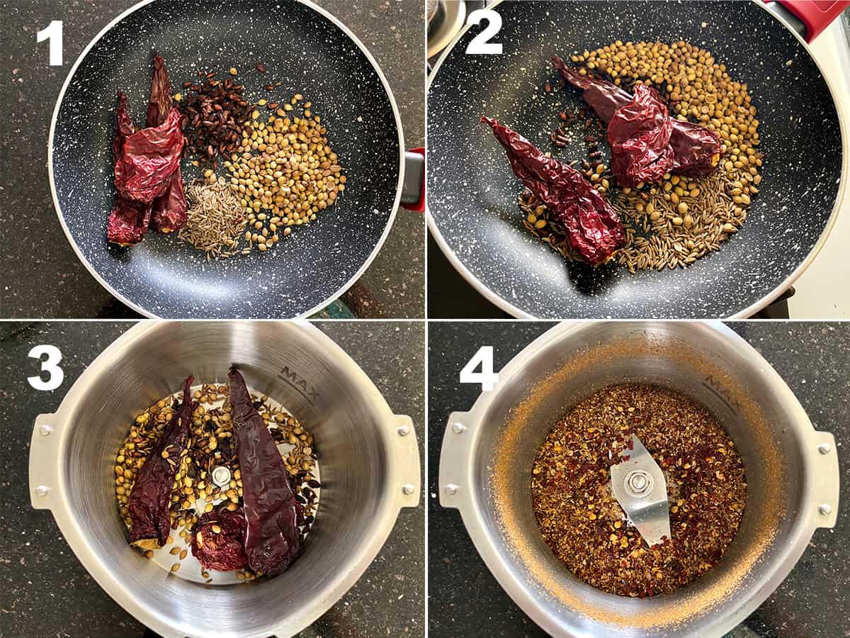 four step collage showing making of Punjabi samosa masala powder