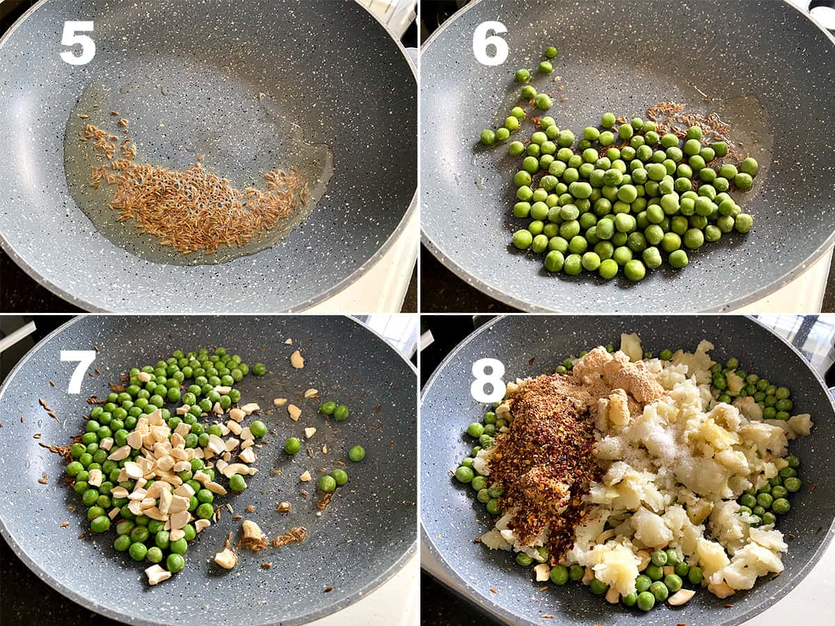 Step by step picture picture collage showing making of potato peas filling for Indian Samosa.