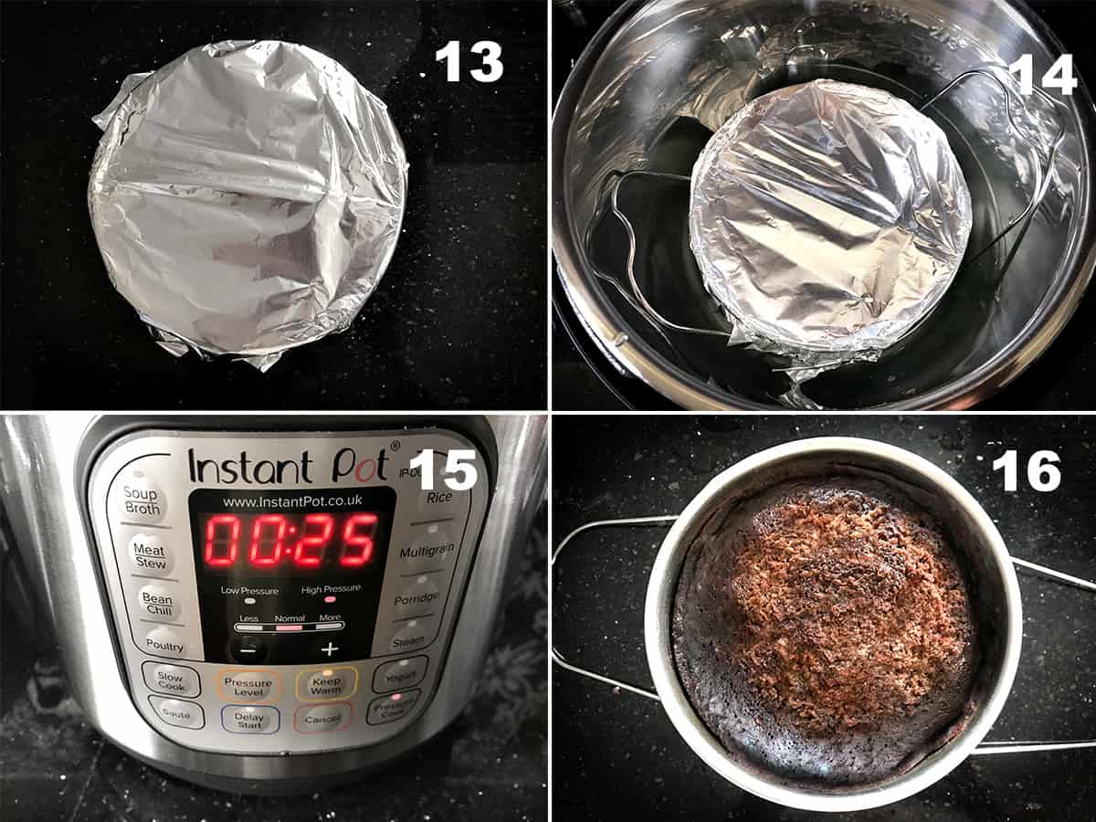 Step by step picture collage showing the making of eggless chocolate cake in Instant Pot.