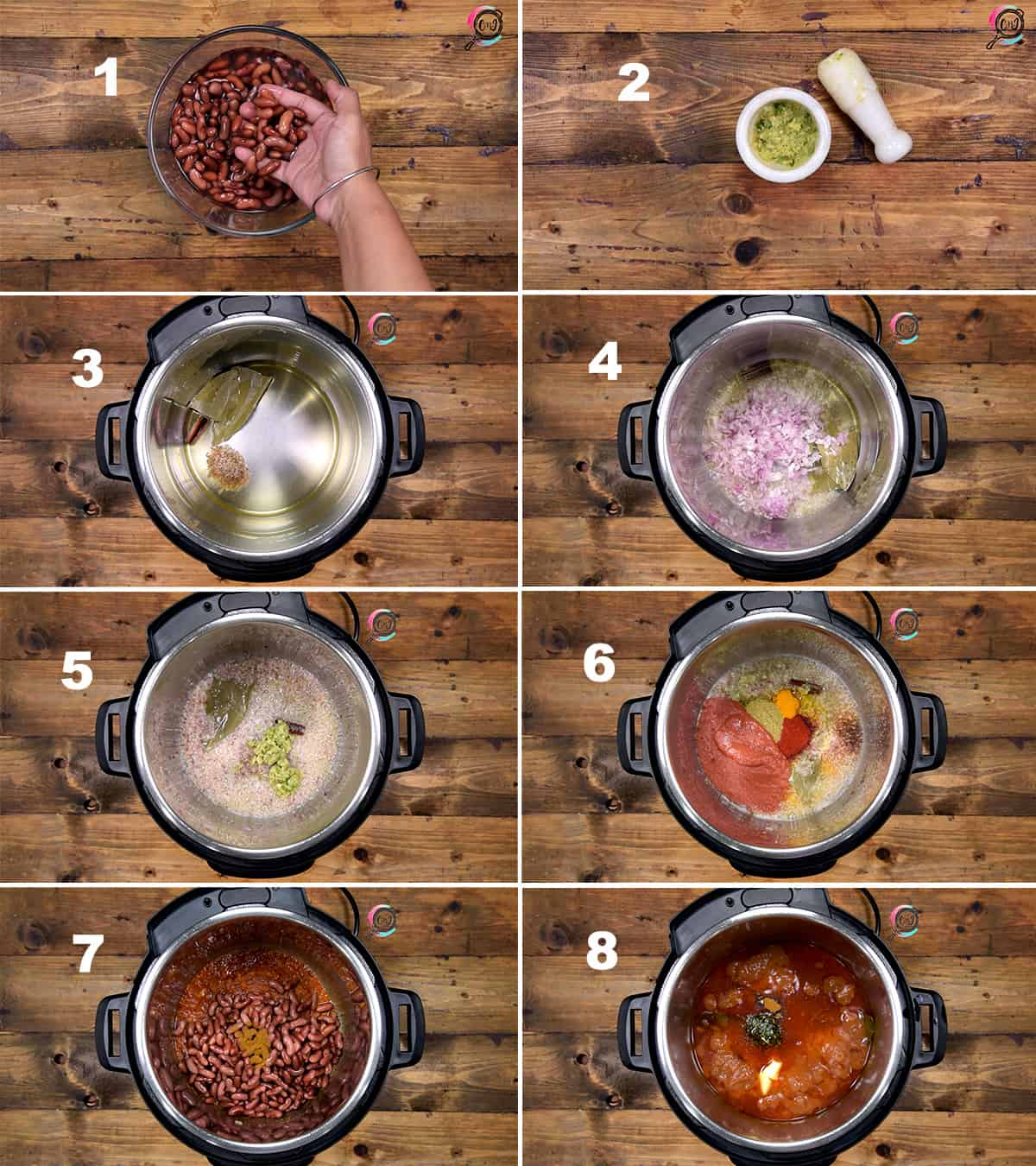 Step by Step picture collage showing how to make rajma in Instant Pot.