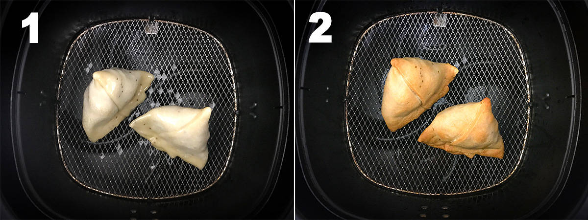Picture collage showing how to make samosa in the Air fryer.
