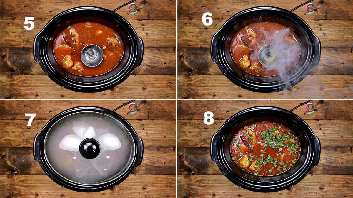 Step by Step picture collage showing how to make chicken curry in slow cooker or crockpot.