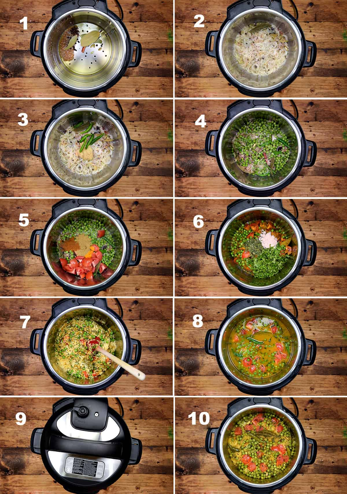 Step by step picture collage showing how to make matar pulao in Instant Pot.