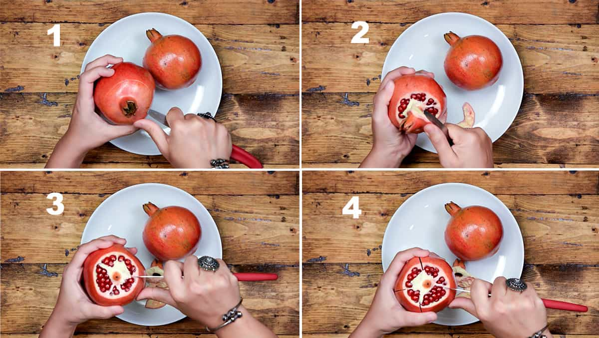 Step by step picture collage showing how to cut pomegranate fruit.