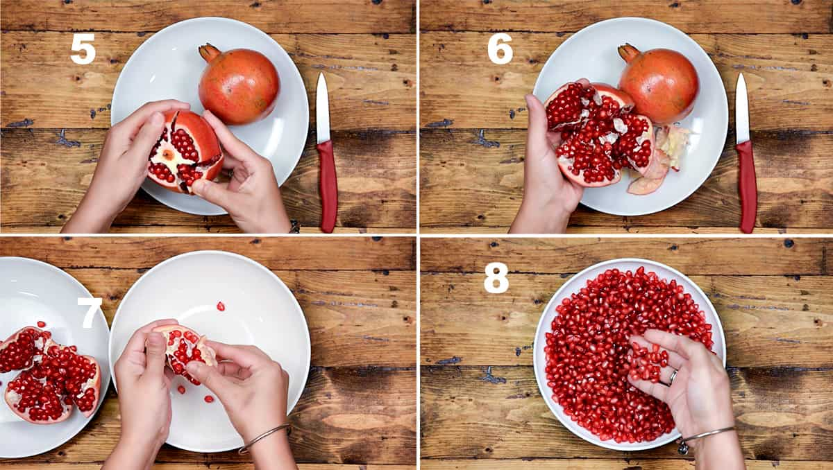 Step by step picture collage showing how to deseed pomegranate fruit.