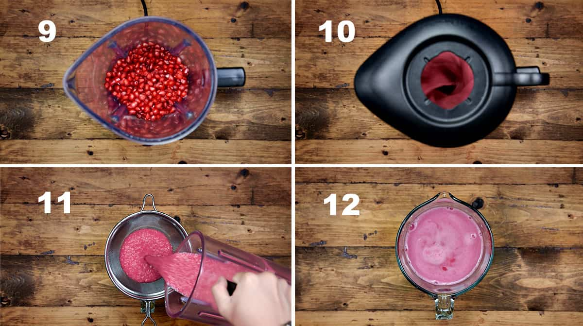 Step by step picture showing how to make homemade pomegranate juice.