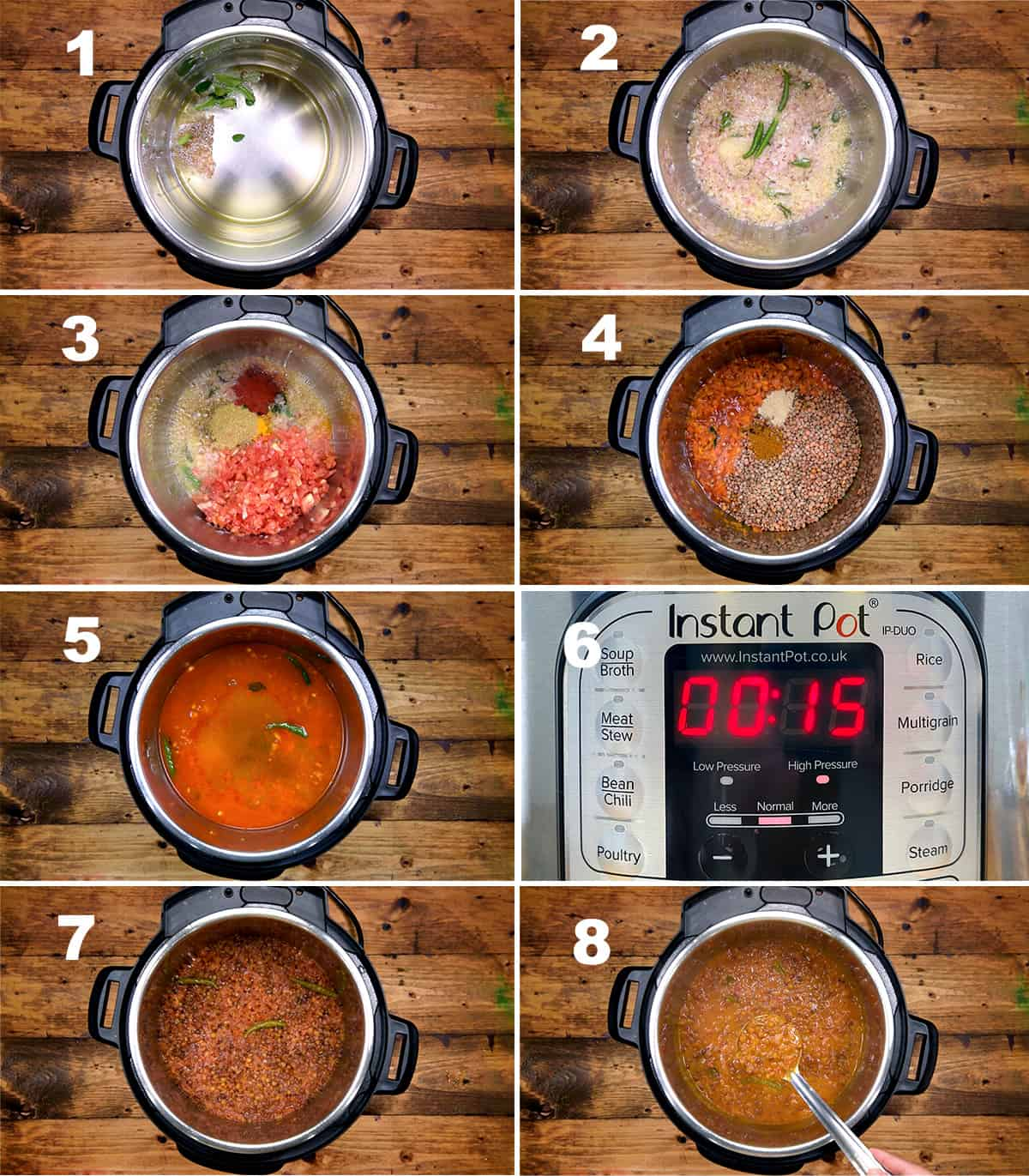Step by step picture collage showing how to make whole masoor lentil curry in Instant Pot.
