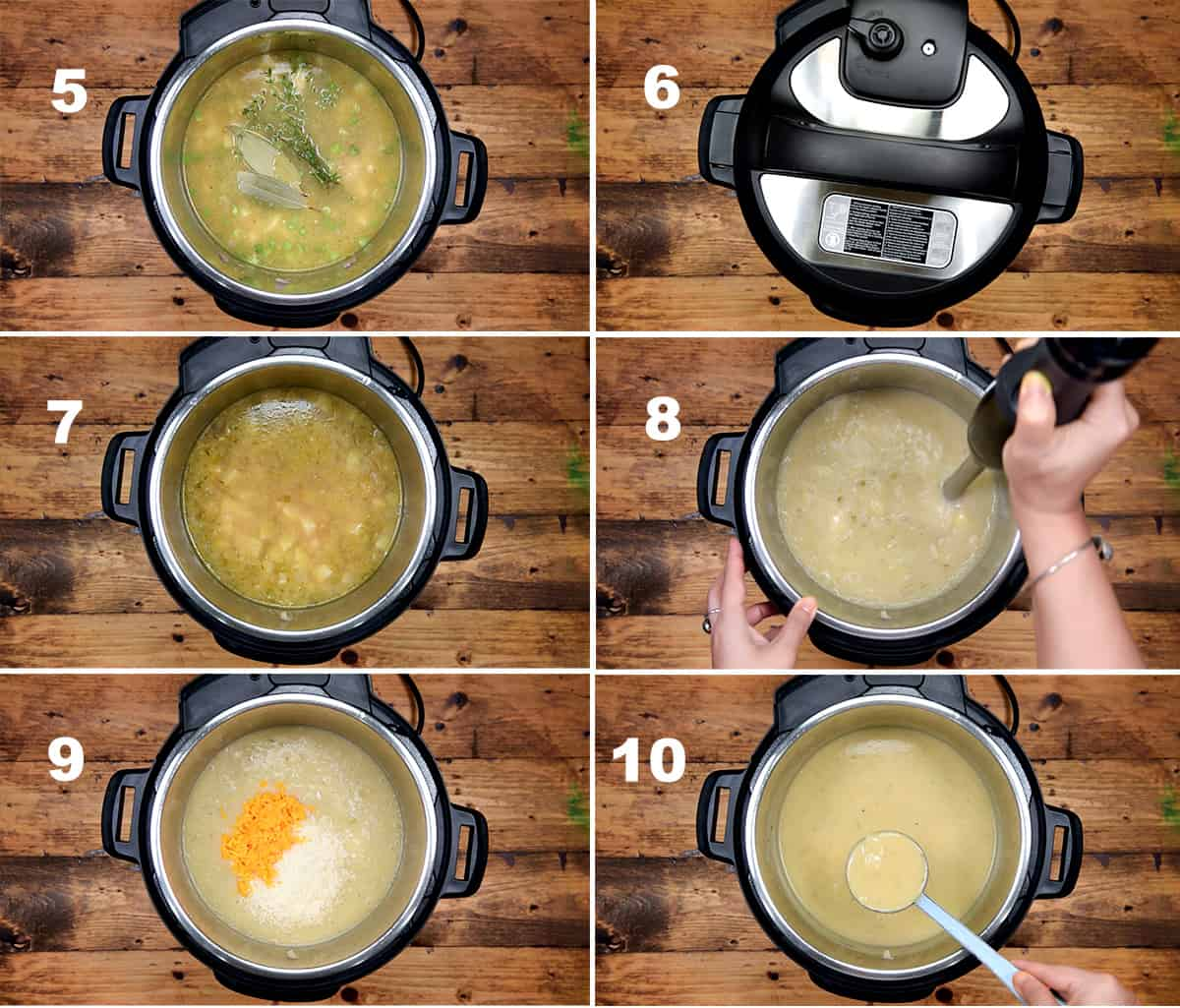 Step by step picture collage showing how to make potato soup in Instant Pot.