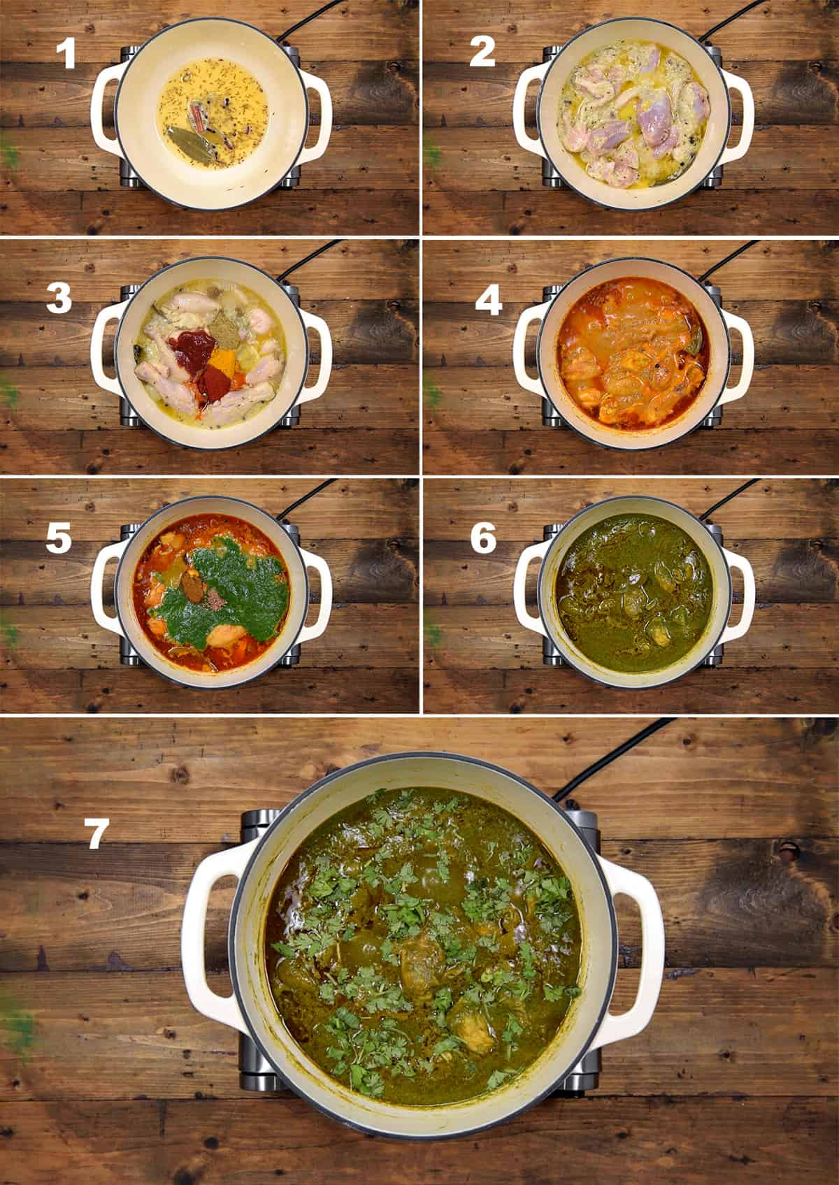 Step by step picture collage showing the making of palak chicken in pot on stove top.