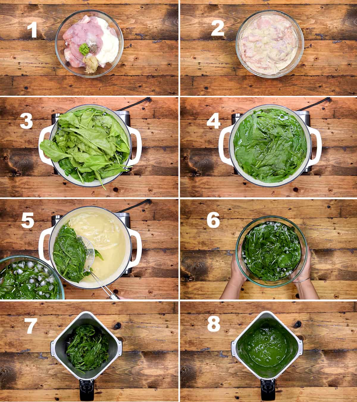 Step by step picture collage showing the chicken marination and spinach blanching.
