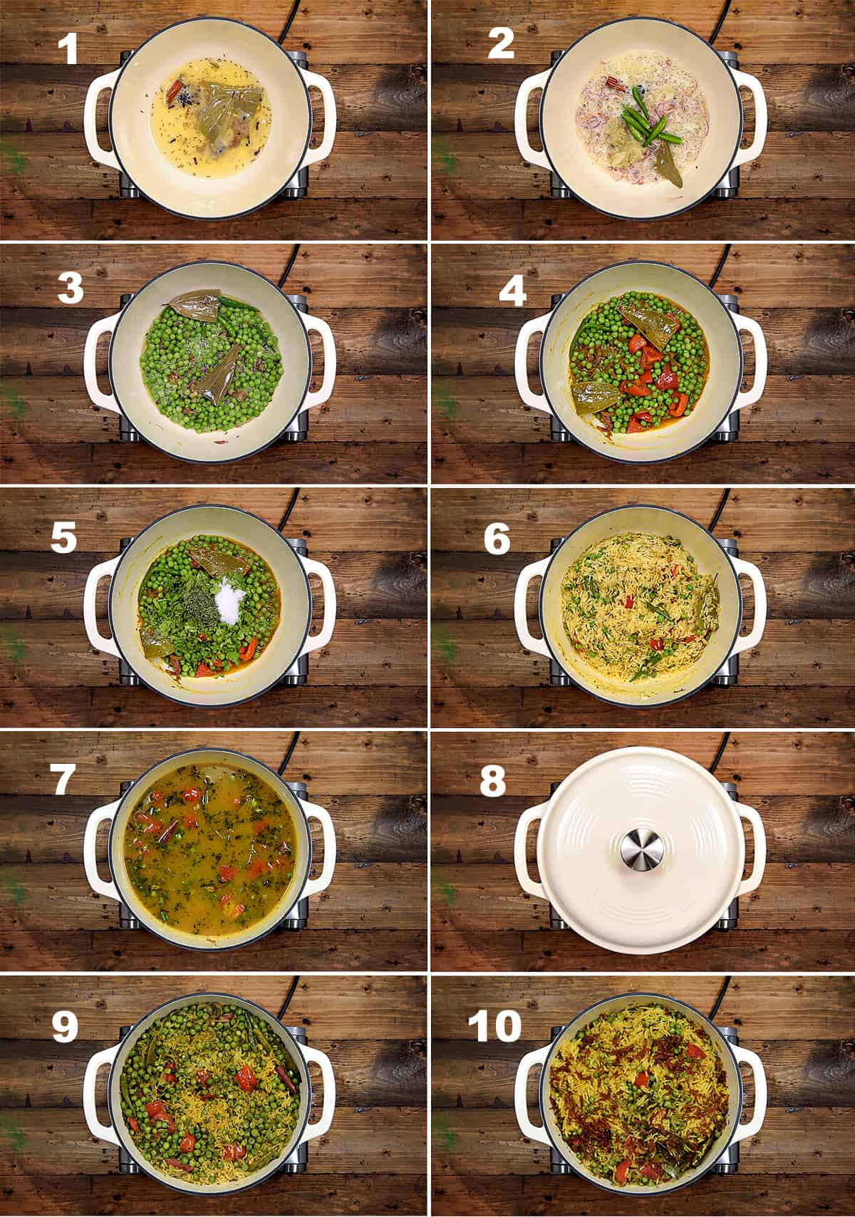 Step by Step picture collage showing how to make matar pulao in pot on stove top.