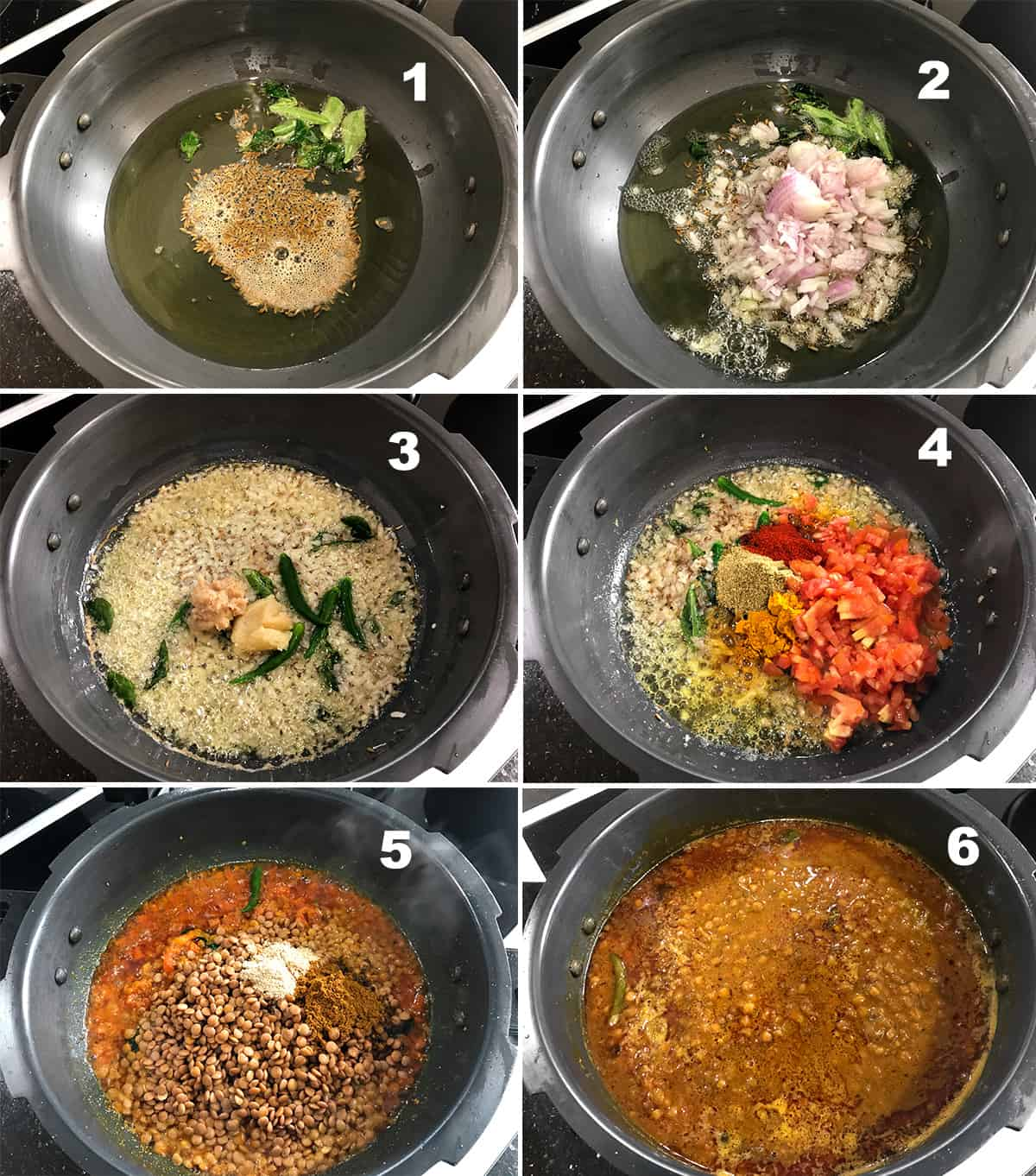 Step by step picture collage showing the making of whole masoor dal recipe in pressure cooker.
