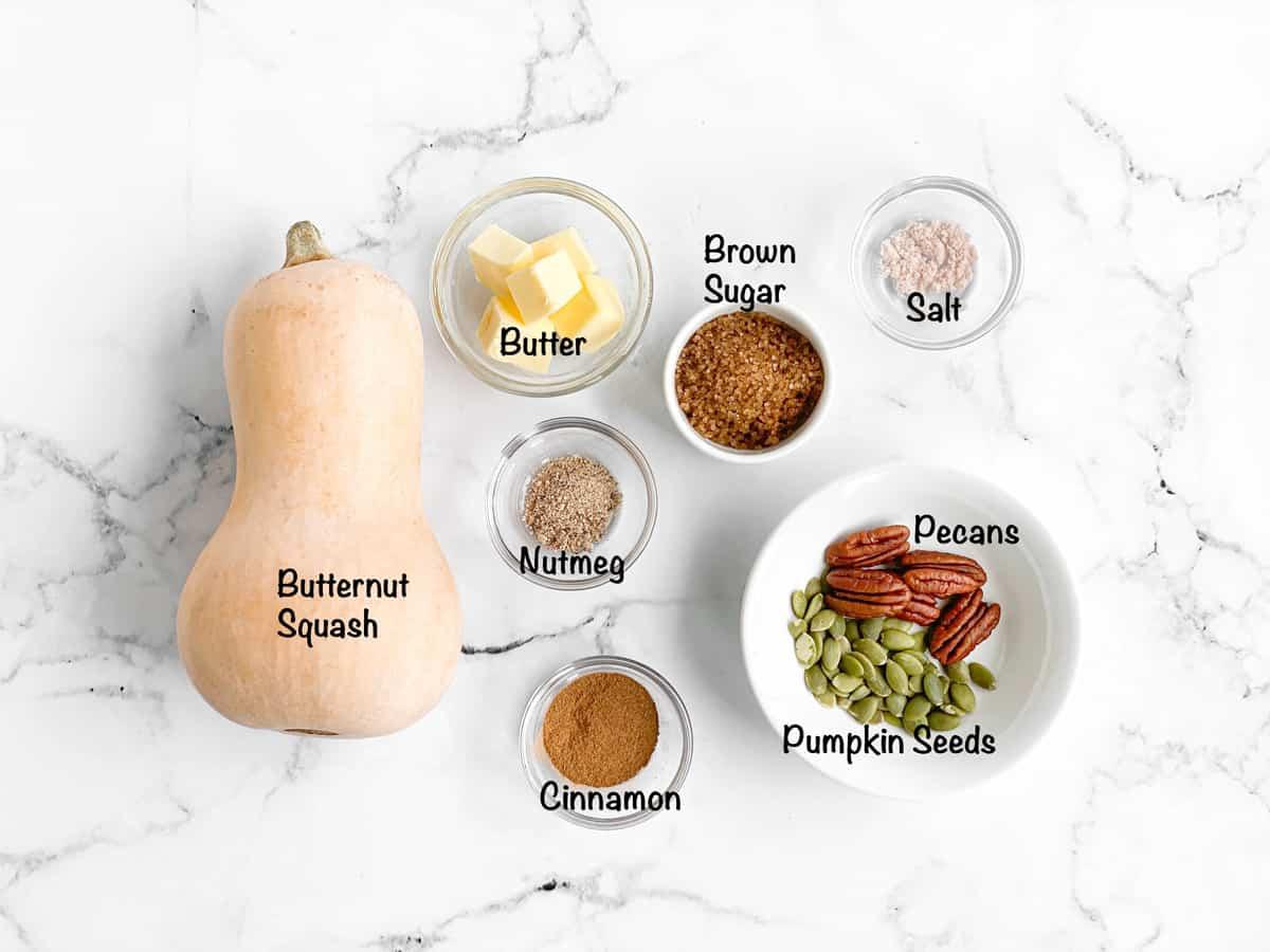 Sweet roasted butternut squash ingredients.