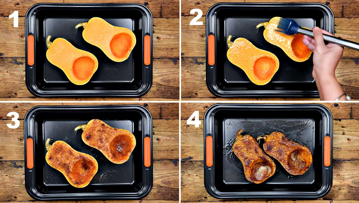 Picture collage showing how to roast whole butternut squash halves with cinnamon and brown sugar.