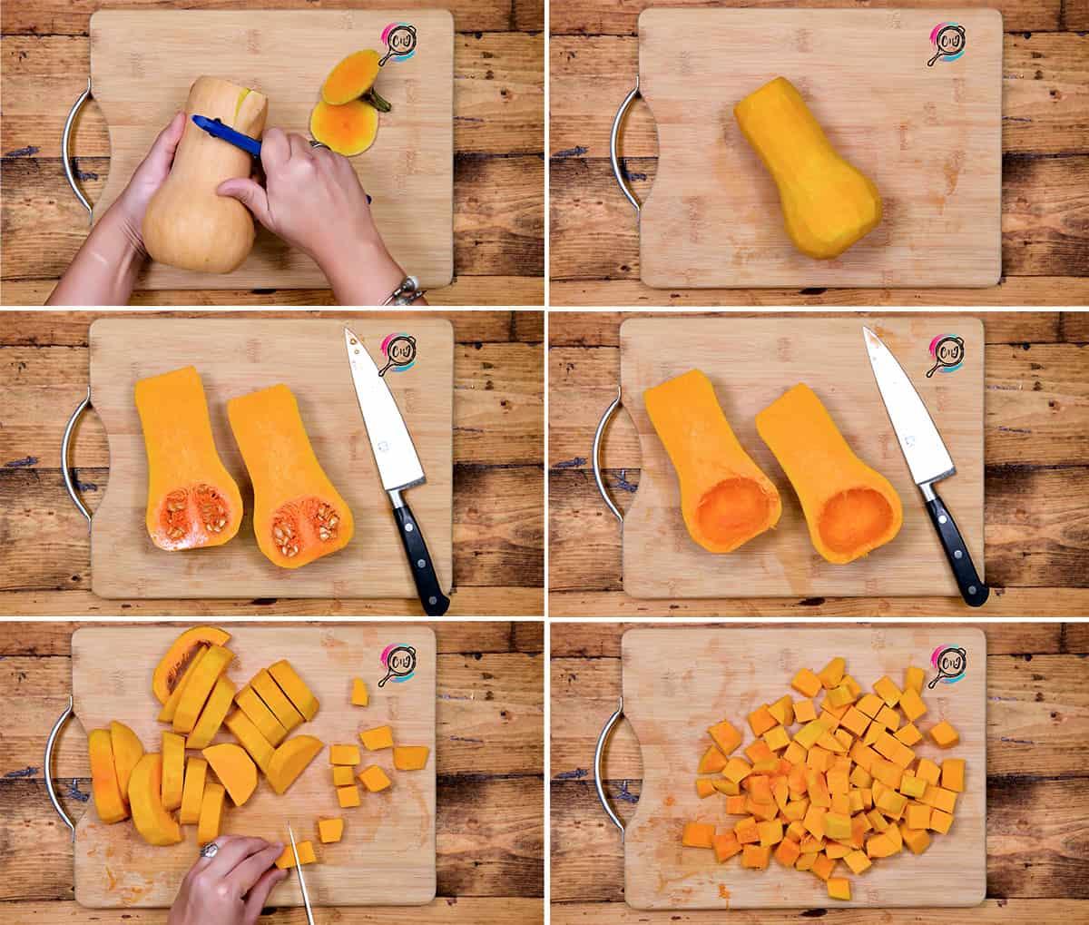 Picture showing how yo cut butternut squash.
