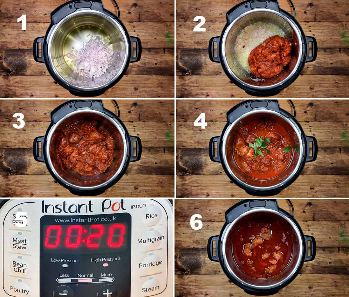 Step by step picture collage showing how to make lamb vindaloo in instant pot.