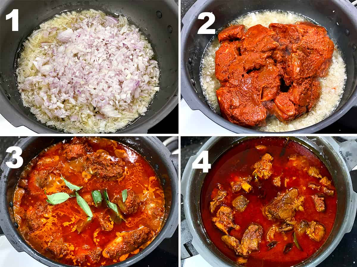 Step by Step picture collage showing the making of mutton vindaloo on stove top.