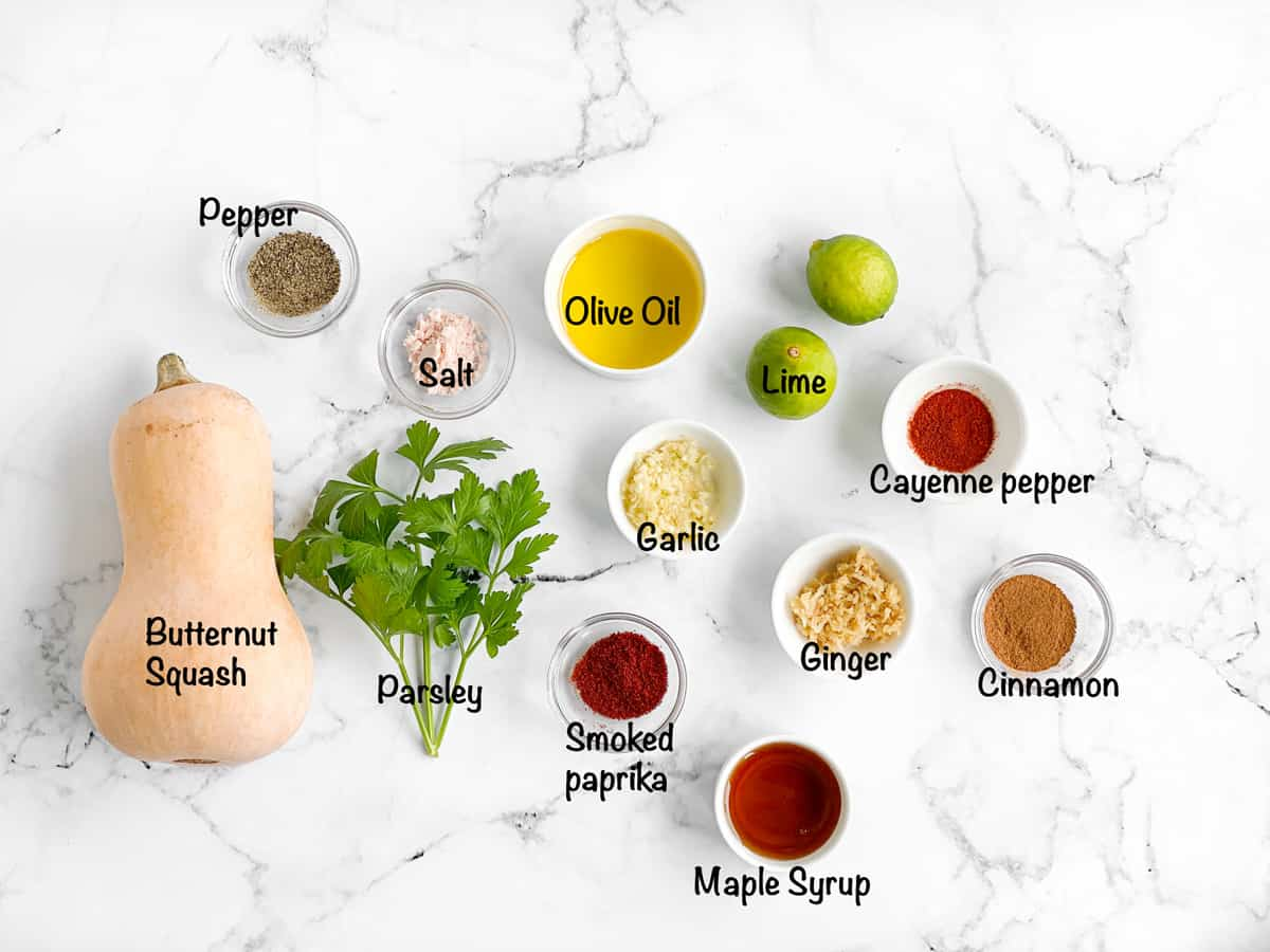 Savory butternut squash roast ingredients.
