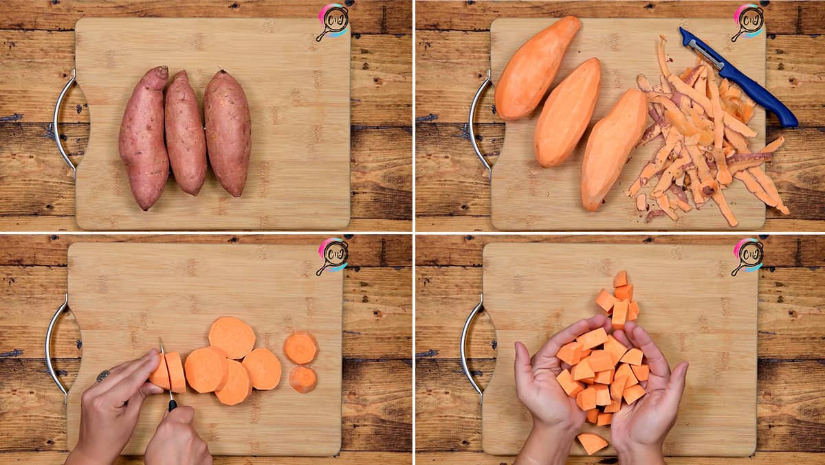 Step by step picture collage showing how to peel and cut sweet potatoes.