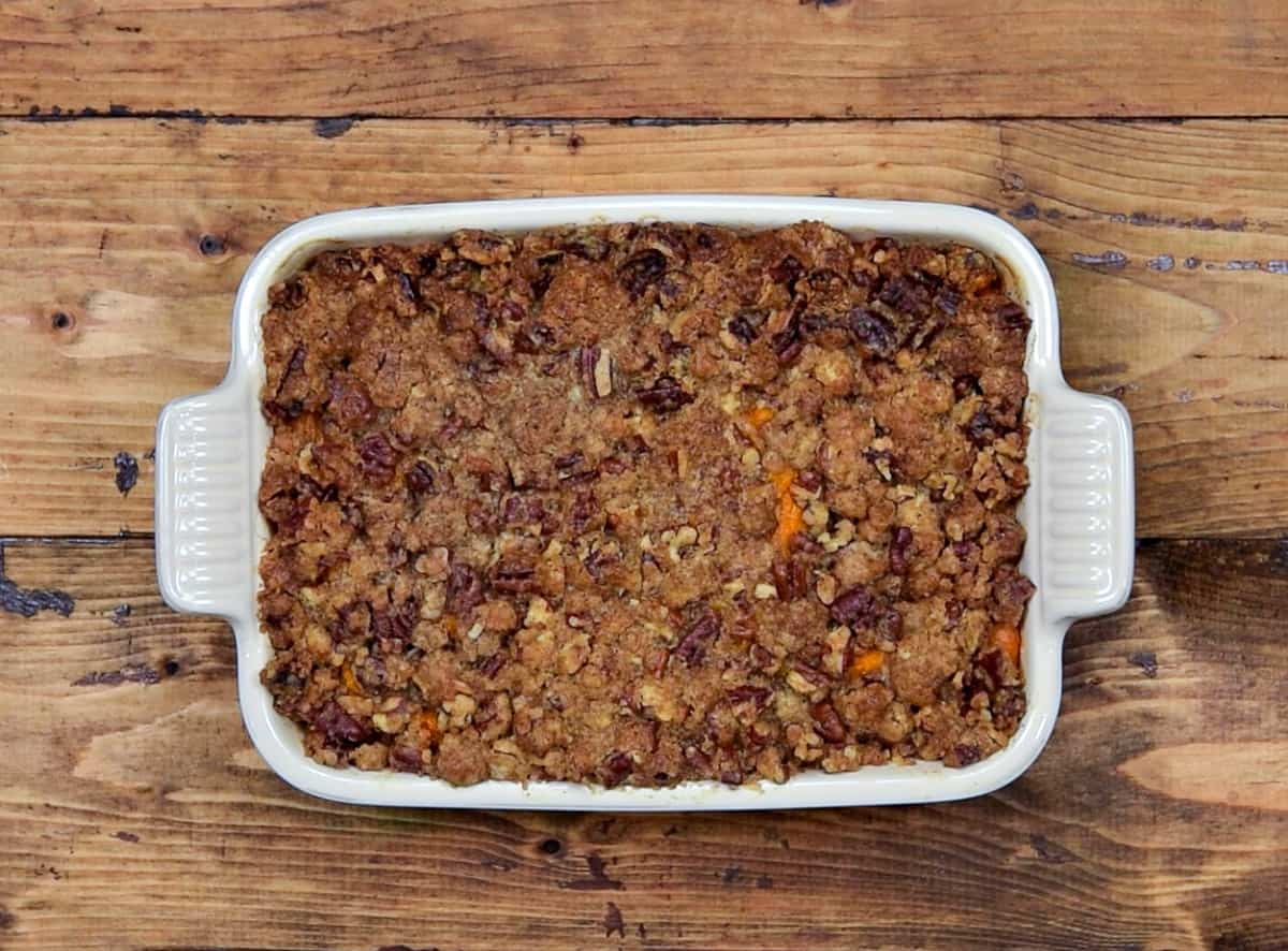 Freshly baked sweet potato casserole out of the oven ready to serve.