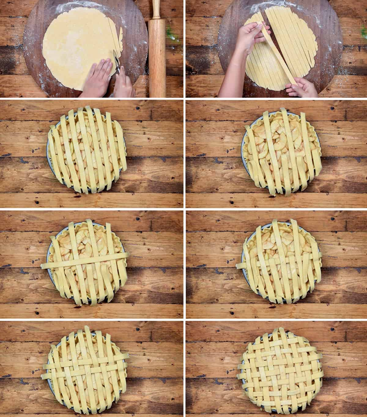 eight step collage showing the making of lattice top crust for apple pie