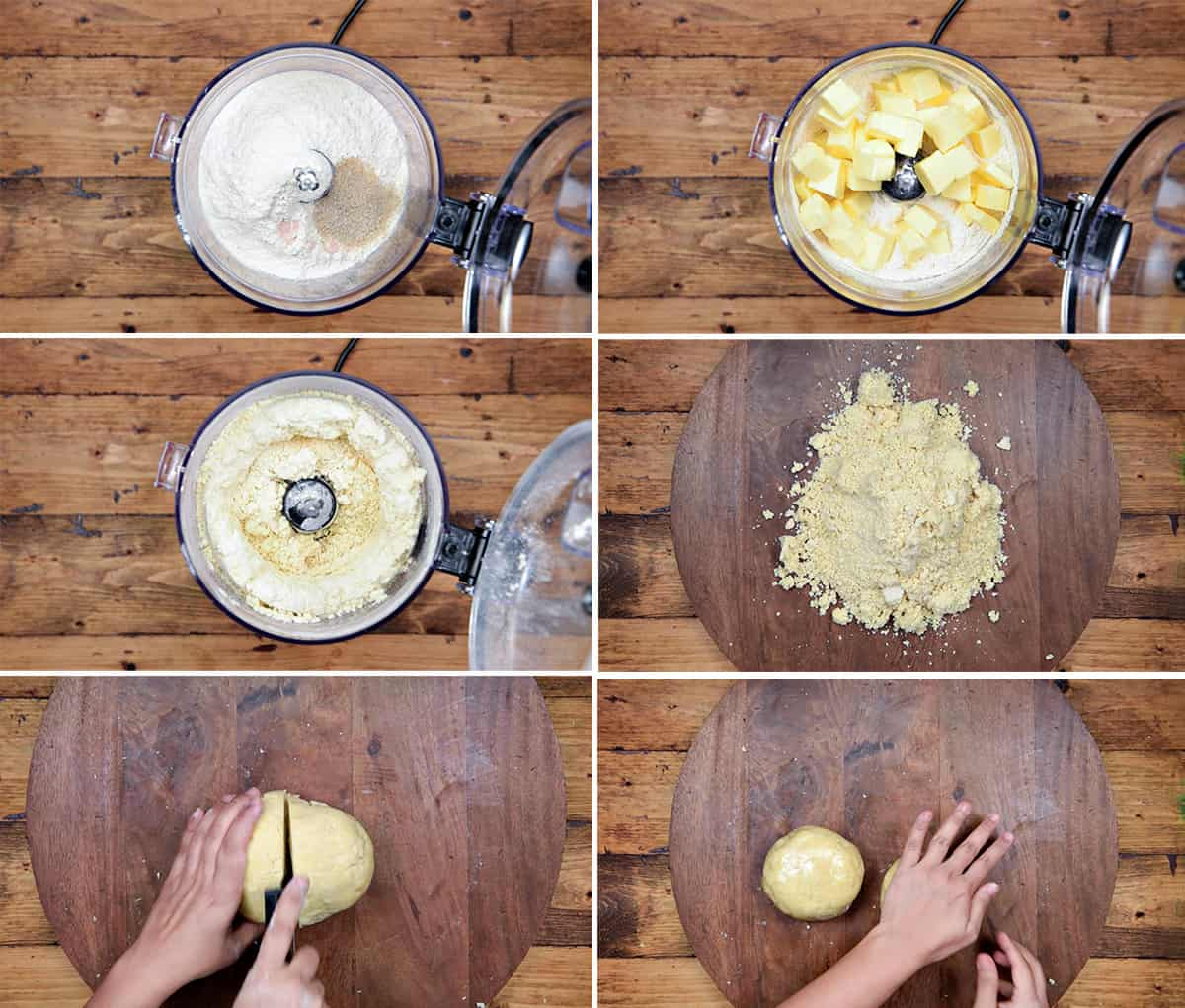 six step collage showing how to make pie crust dough using food processor