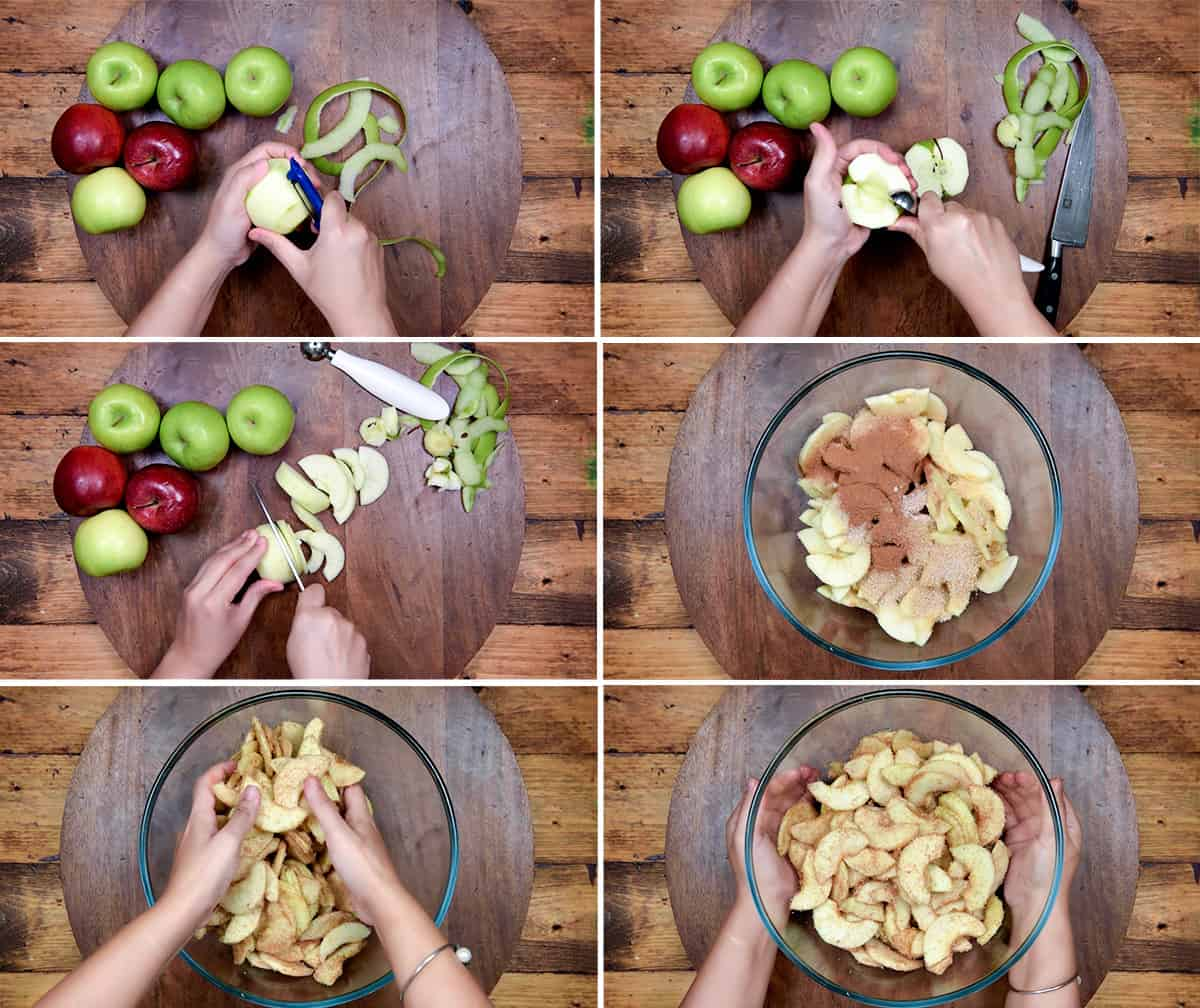 six step collage for peeling, and slicing the apples, then adding spices to make apple pie filling.