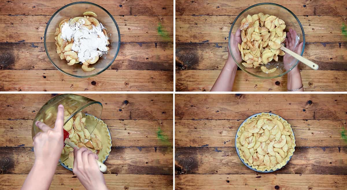 four step collage of tossing the apples with flour and adding it to the pie crust