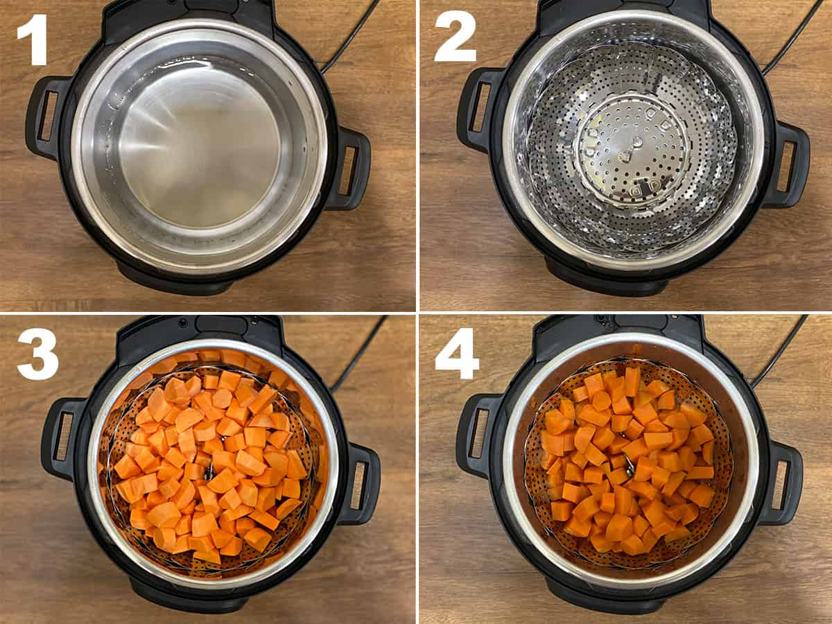 four step photo collage showing how to cook sweet potatoes in an instant pot