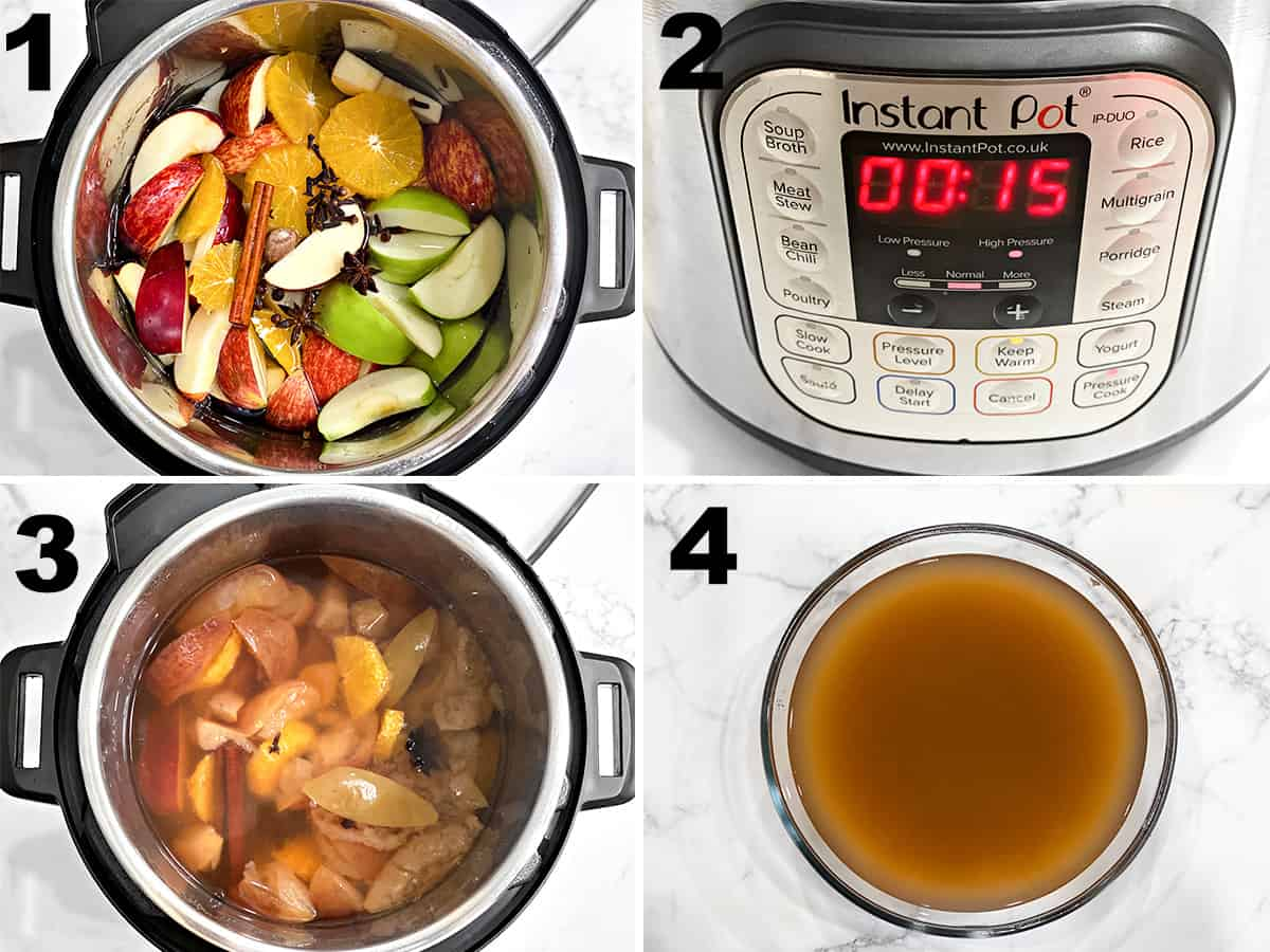 the four steps of making homemade apple cider in the instant pot