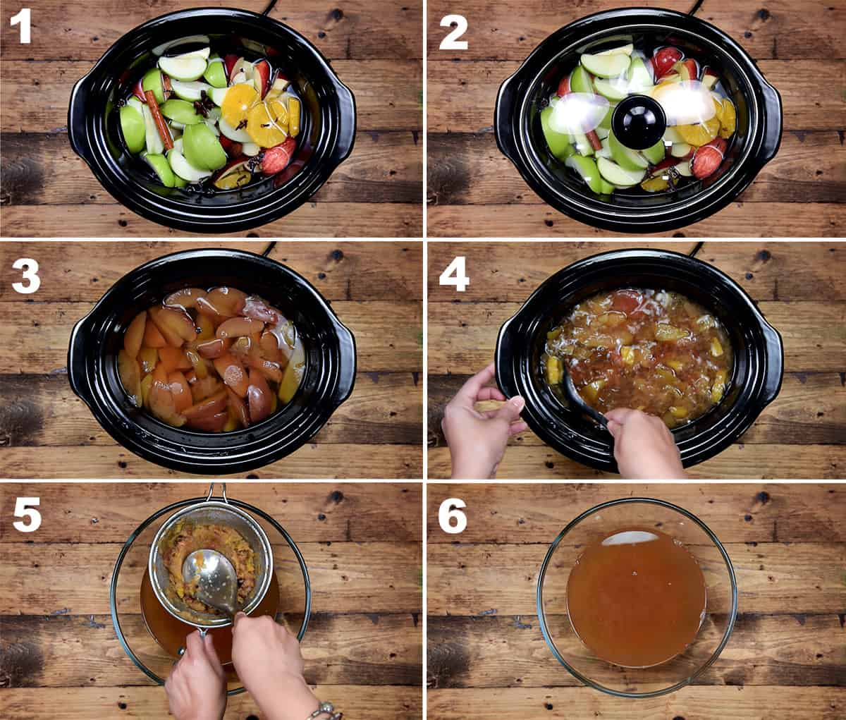 the six steps of making easy homemade apple cider recipe in a slow cooker crock pot