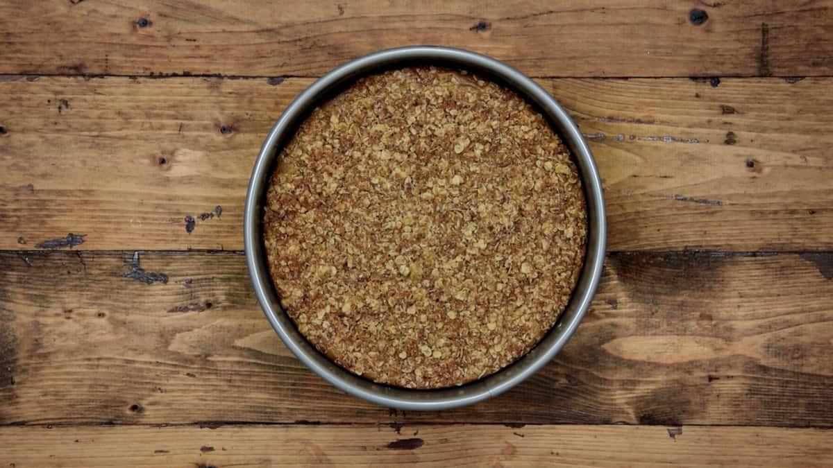 baked pumpkin cheesecake in a springform tin