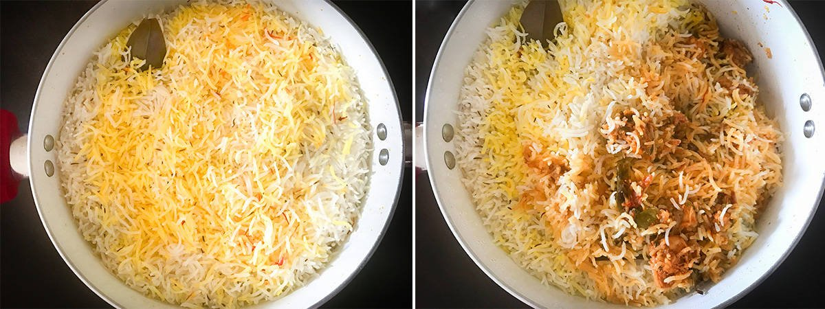 two step collage showing the cooked shrimp biryani in dutch oven.