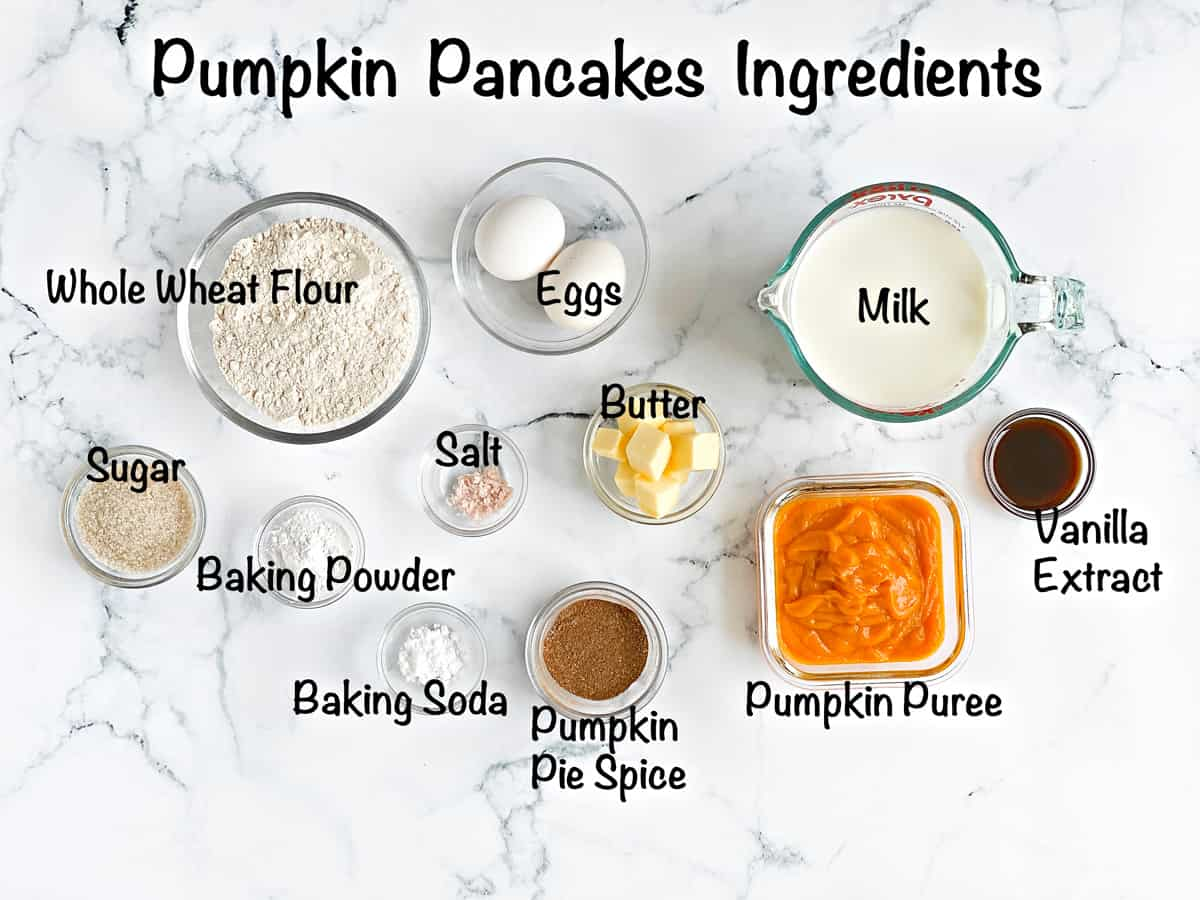 mise en place for pumpkin pancake recipe