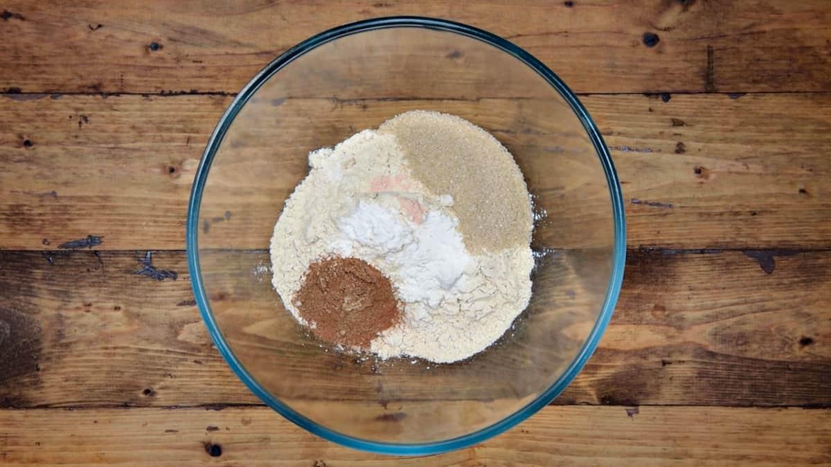 dry pancake ingredients in mixing bowl