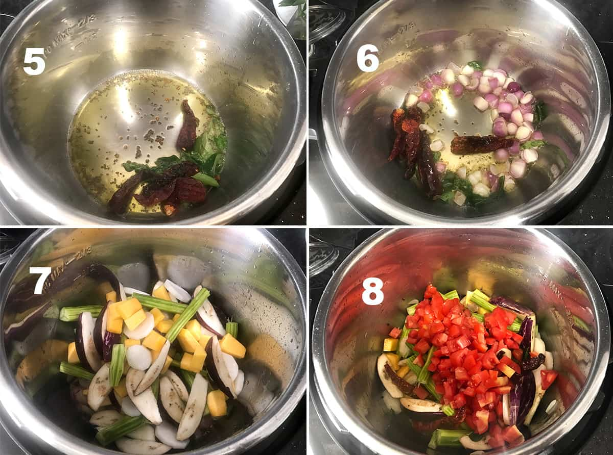 four steps showing spices, onions and vegetables sautéing in the instant pot