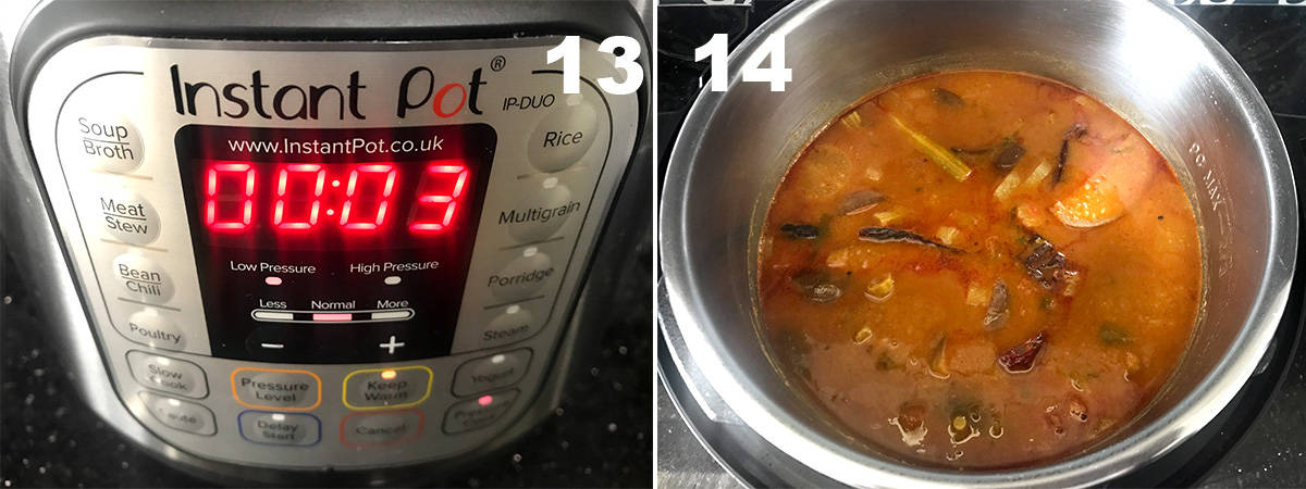two steps showing high pressure cook time and finished sambar in the instant pot
