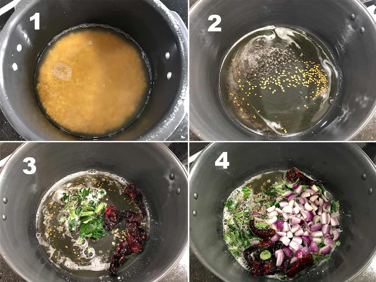 the four steps of boiling dal in pressure cooker and frying onion, and spices in pot
