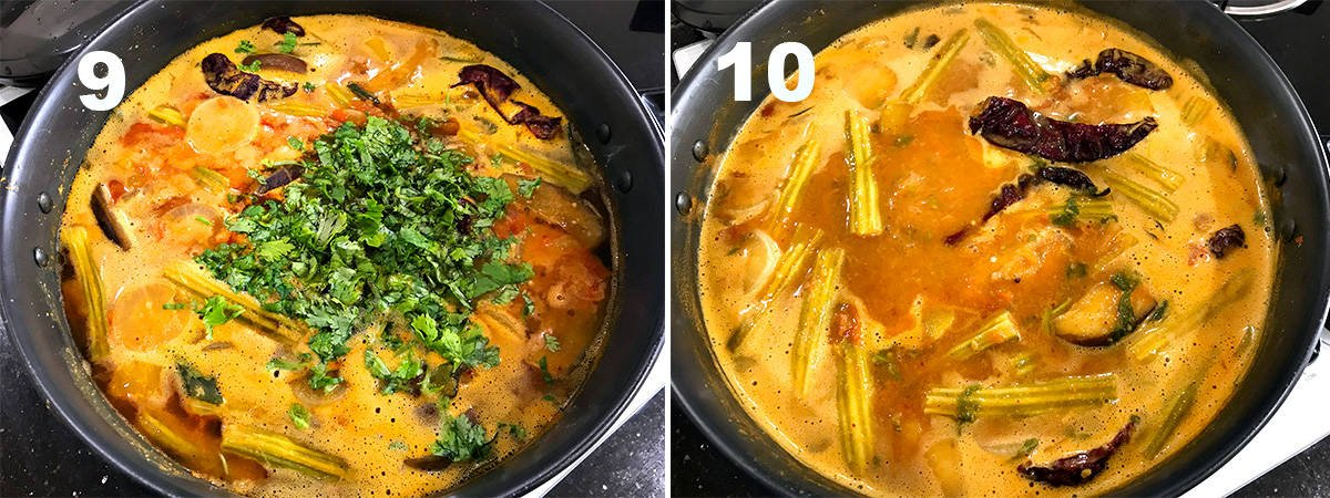 two steps showing the addition of chopped cilantro and sambar simmering in pot.