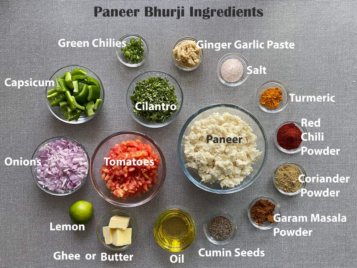 mise en place for paneer bhurji recipe ingredients placed in small clear glass bowls