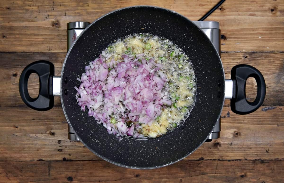 chopped onions added in pan