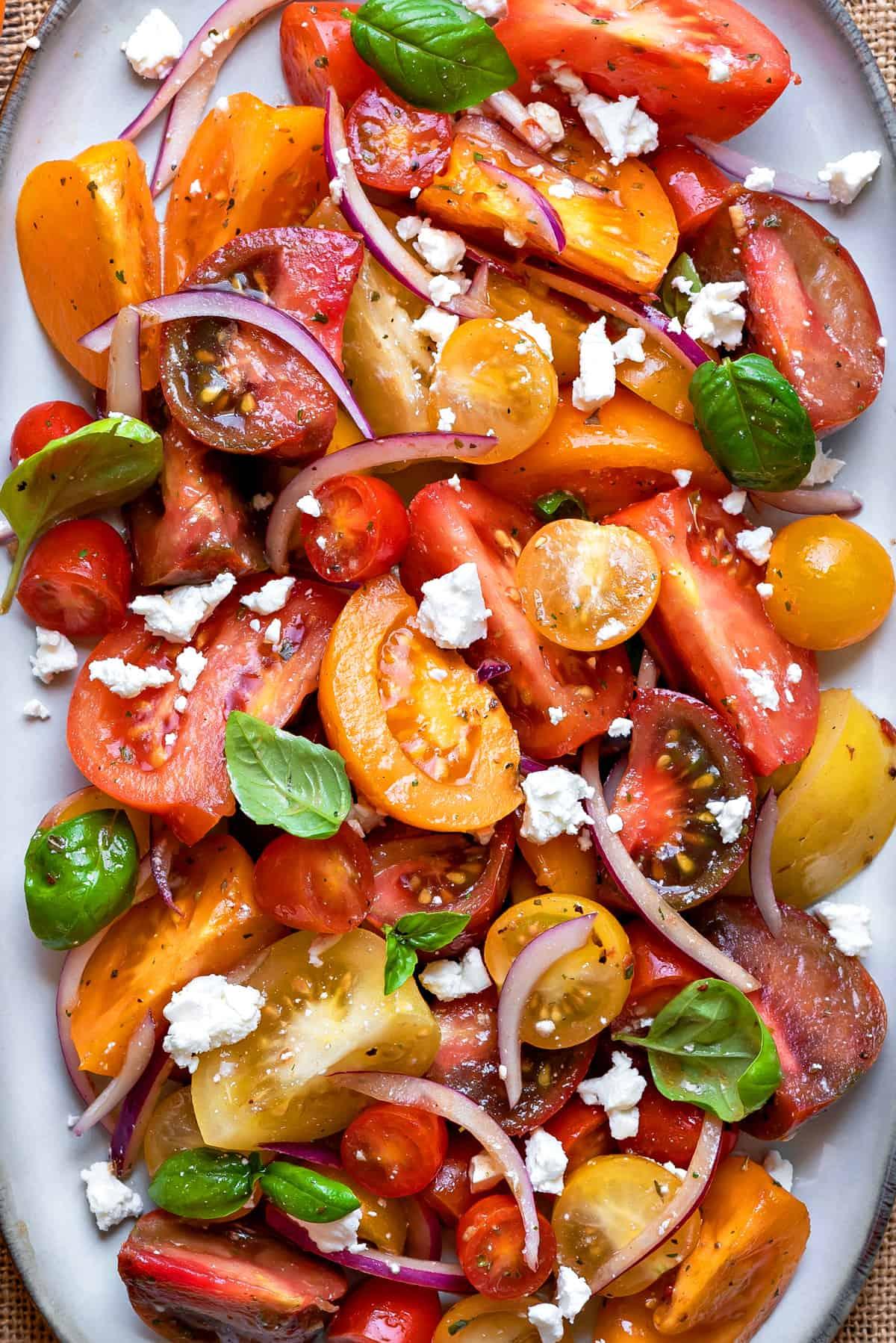 close up shot of heirloom tomato salad