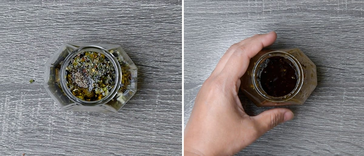side by side images showing how to make the tomato salad dressing in a small jar with a lid