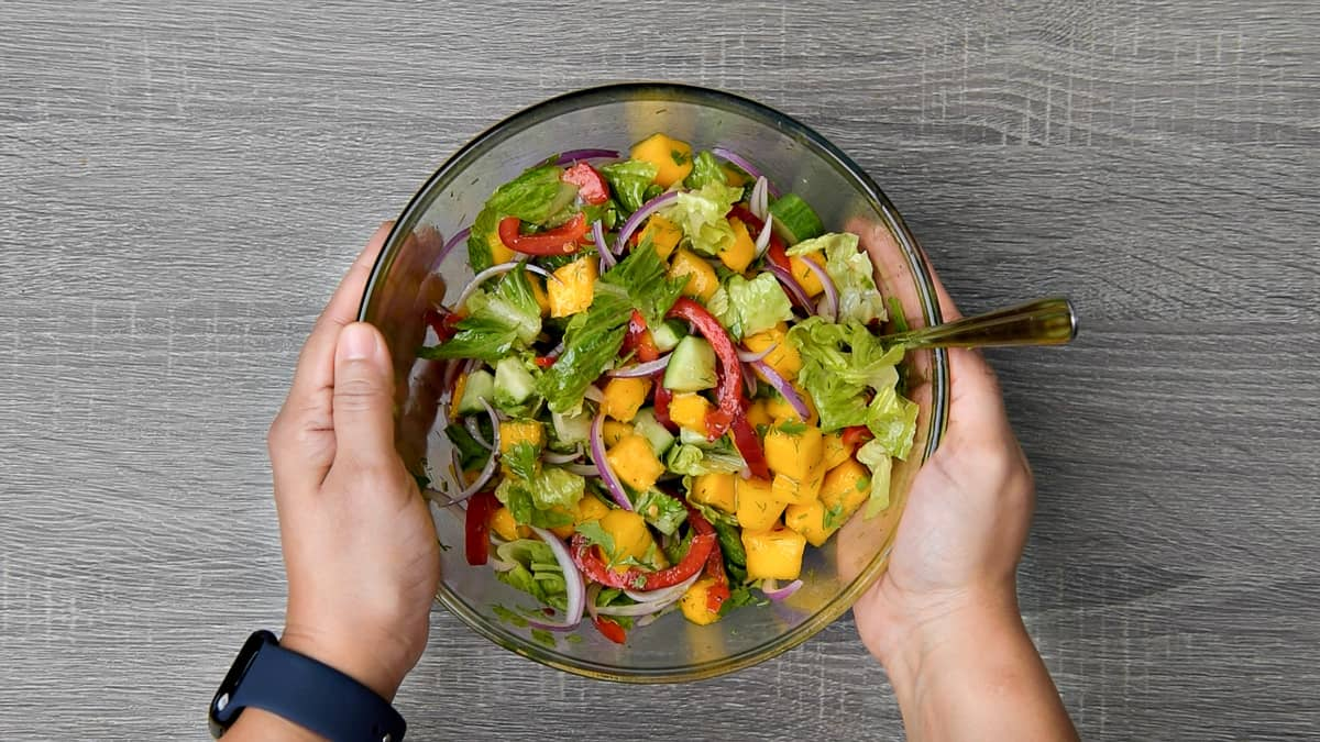 hands holding completed bowl of mixed mango salad