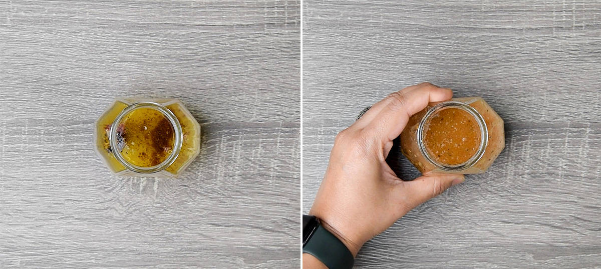 side by side images of all salad dressing ingredients added to a jar on the left, and a hand holding said jar after whisking the dressing together